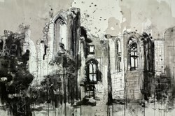 Kenilworth Castle by Tim Steward - Original Drawing, Paper on Board sized 43x30 inches. Available from Whitewall Galleries